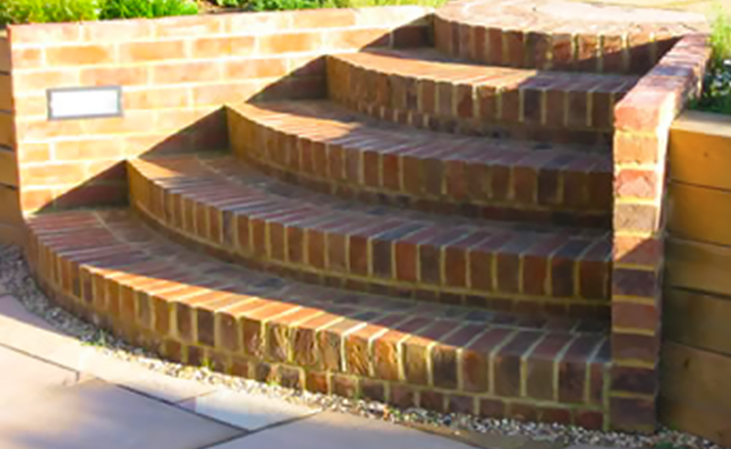 Decorative radius garden steps