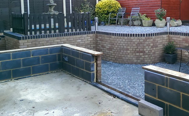 Conservatory brick and block work base