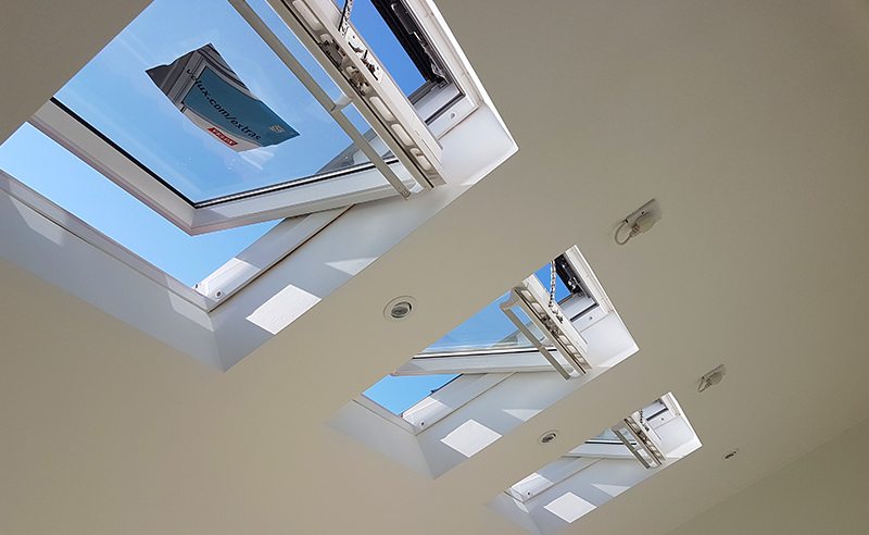 Single storey extension interior showing skylights