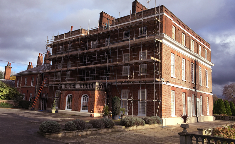 Restoration included brick repairs and re-pointing with lime mortar