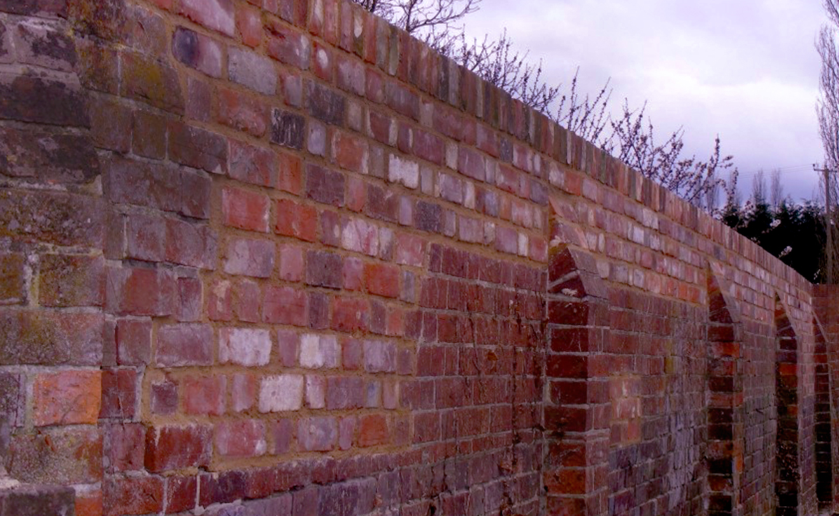 Garden wall with buttress