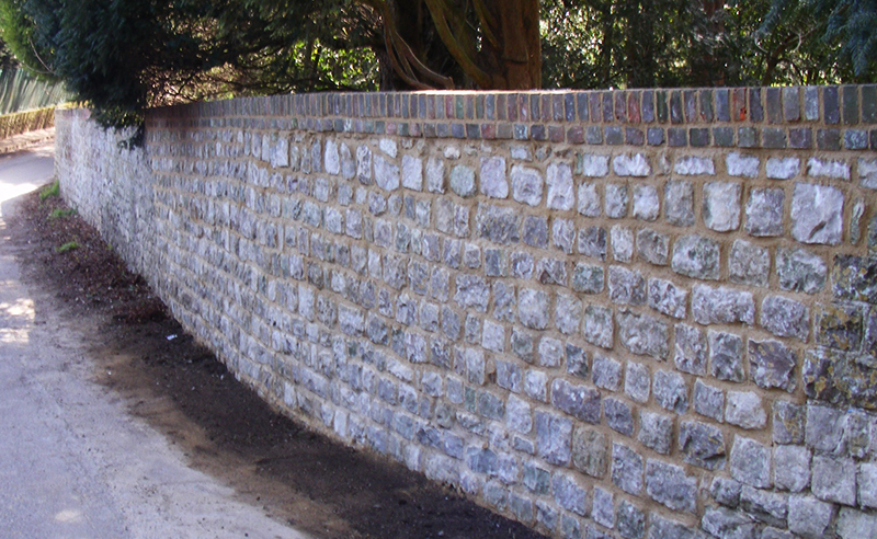 Ragstone Wall constructed with lime mortar