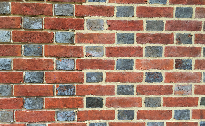 New brickwork matching in with the original flemish bond